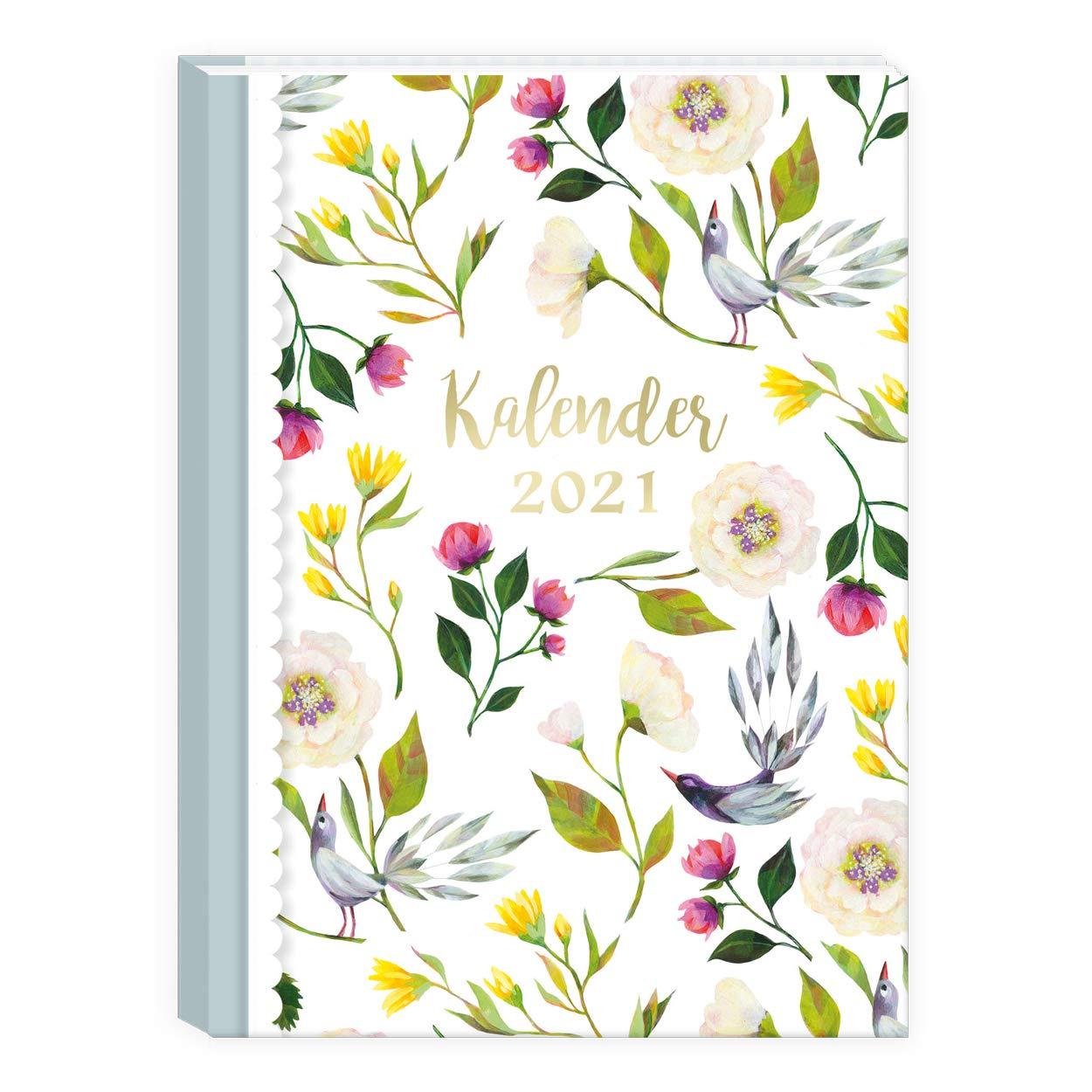 Taschenkalender Wochenplaner 2 Seiten pro Woche Hardcover| Terminkalender A6 Organizer 2021 Kalender Retro Vintage Kalenderbuch klein Terminplaner 2021