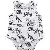 1PC Romper pour bébé de 6 à 24 mois, Transer Joli bébé garçon fille dinosaure imprimé sans manches coton Combi-pantalon