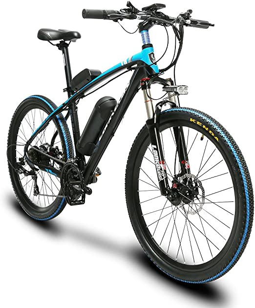 Extrbici Electric Bicycle 240W Motor Battery 48V 10AH,21 Speeds T8 e-Bike 17x26 Inch Aluminum Frame Suspension Front Fork with Lockout Shi-Mano Shift Gears 3 Speed Models LCD Mechanical Disc Brake