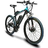 Extrbici T8 自転車 マウンテンバイク mtb シマノ21段変速 26インチタイヤ アルミフレーム 240ワット バッテリー48V10AH 通勤通学用 (ブルー(青))