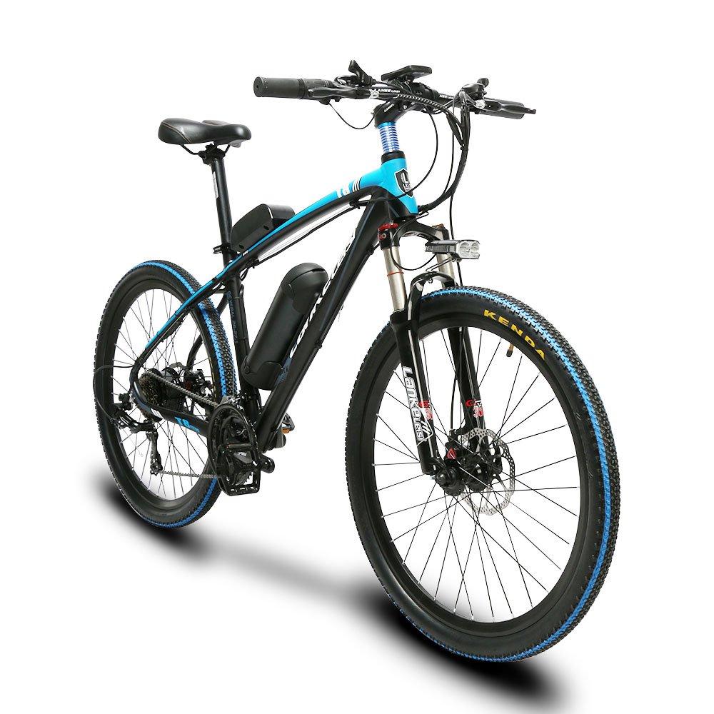 Extrbici T8 自転車 マウンテンバイク mtb シマノ21段変速 26インチタイヤ アルミフレーム 240ワット バッテリー36V20AH 通勤通学用 B07FDGXLP8  ブルー(青)