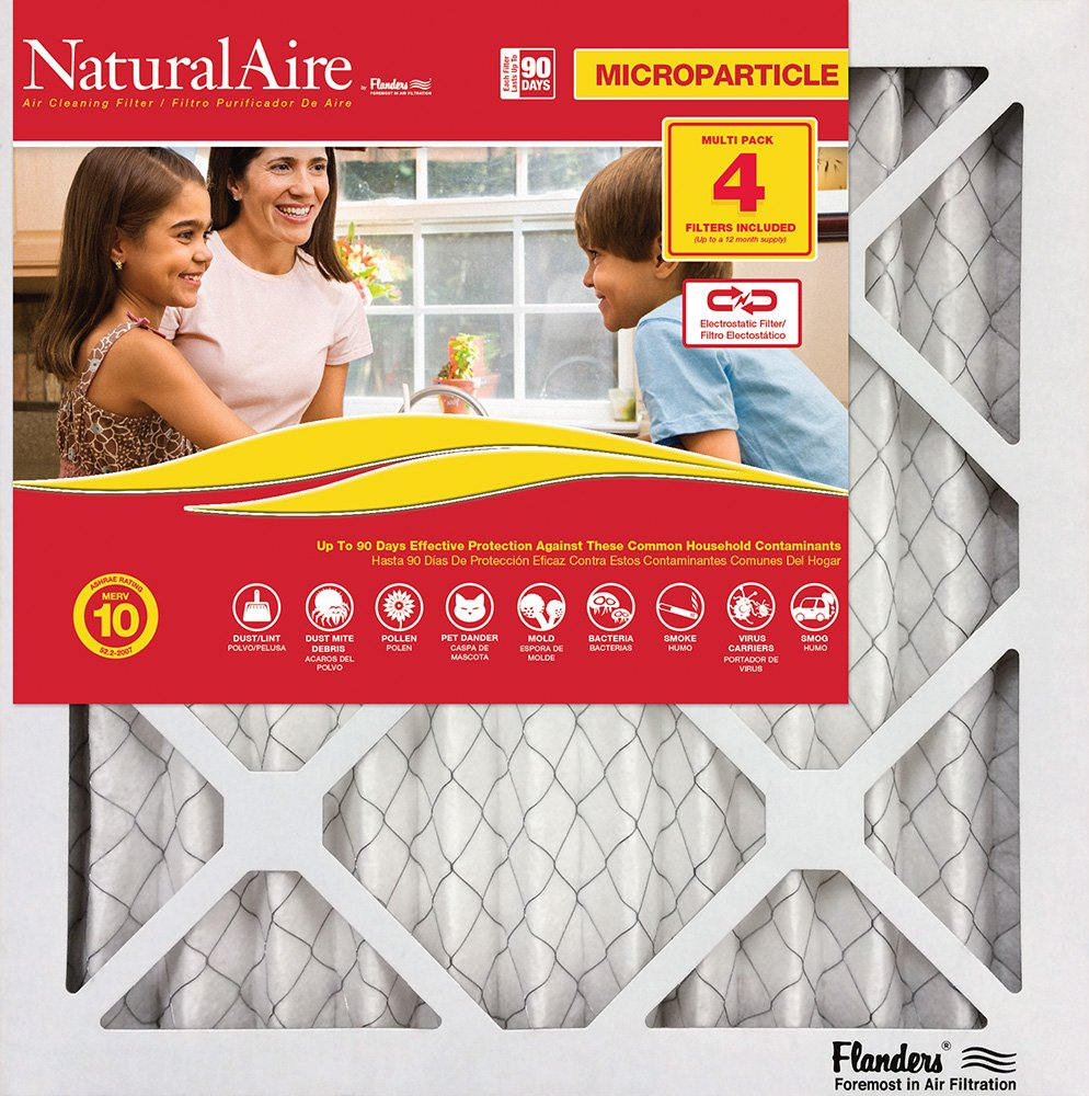 Flanders PrecisionAire 85756.012436 NaturalAire Micro Particle Red Pleat Air Filter 24 x 36 x 1 24 x 36 x 1 Flanders Corporation 4 Pack
