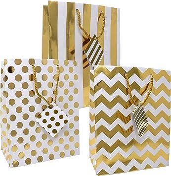 Amazon.com: 12 bolsas de regalo de color dorado metálico ...