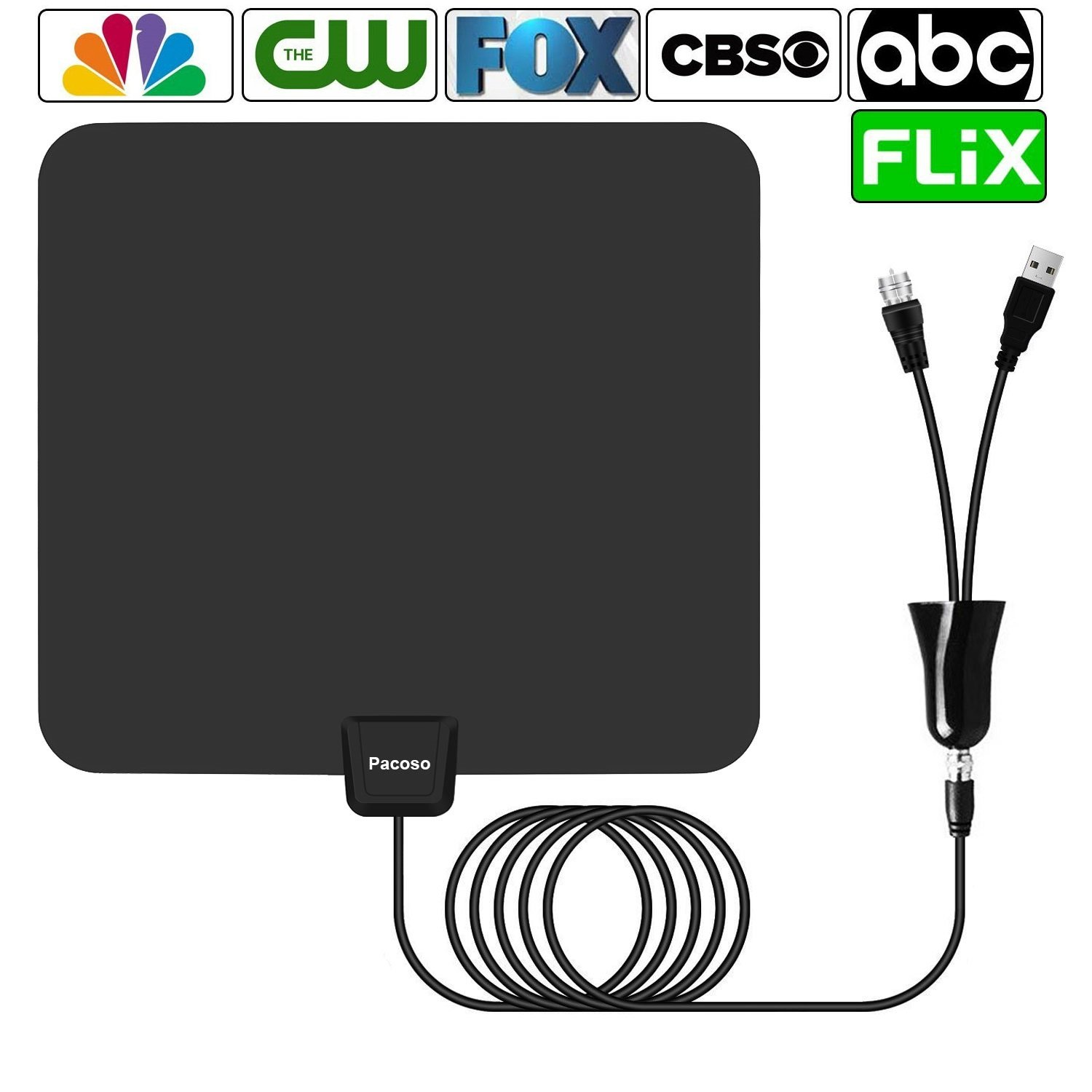 Antenna,Pacoso 75 Mile Range Amplified TV Antenna with Detachable Amplifier Signal Booster,2018 New Version Digital Antenna Local Broadcast 4K/HD/VHF/UHF Signal TV Channels for Smart Television.
