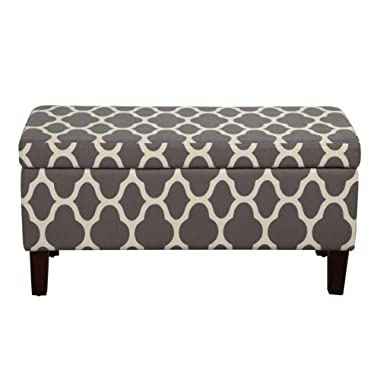 HomePop Large Upholstered Rectangular Storage Ottoman Bench with Hinged Lid Grey Geometric