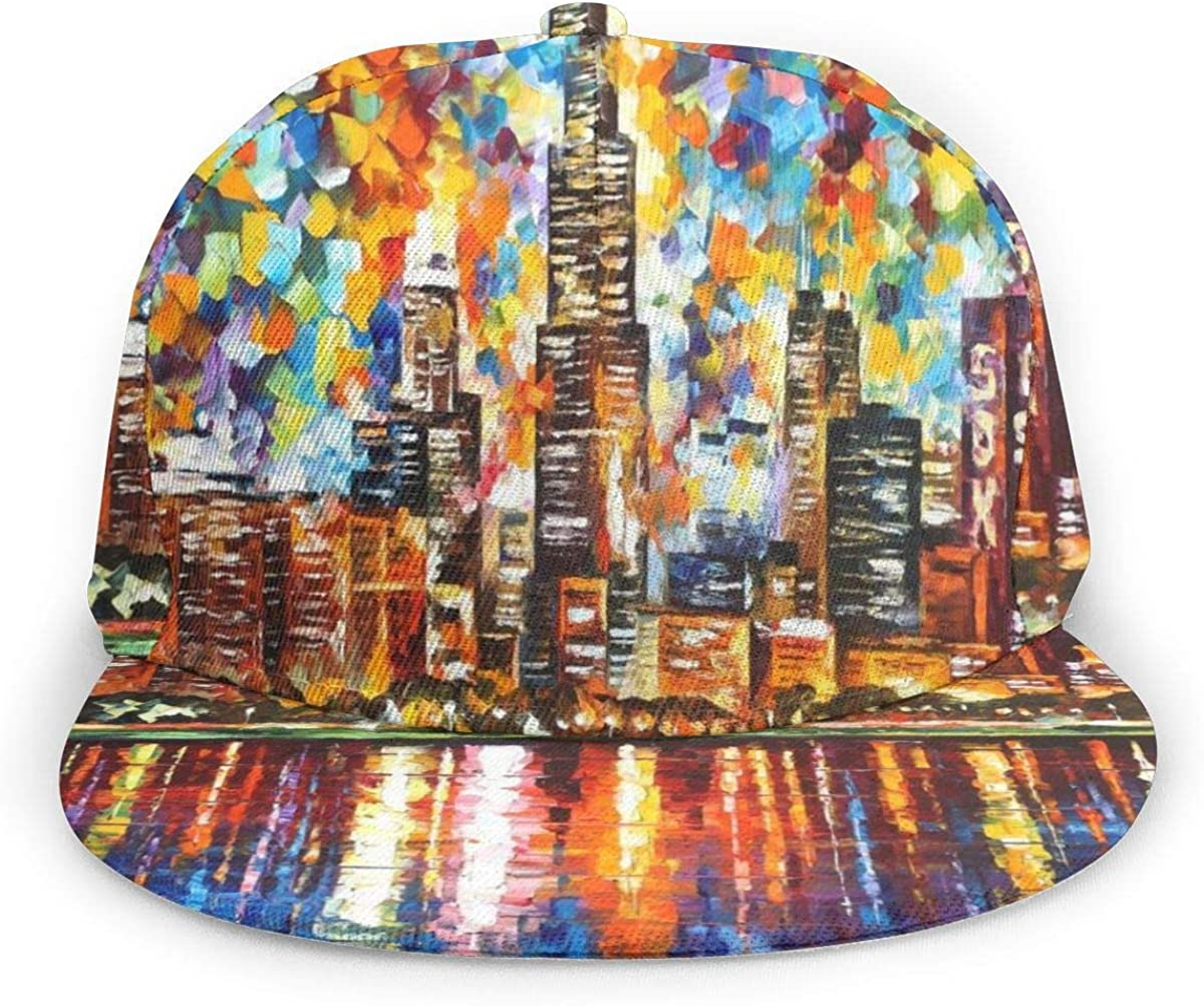 Abstract Oil Painting Chicago Skyline Lightweight Unisex Baseball Caps Adjustable Breathable Sun Hat for Sport Outdoor Black