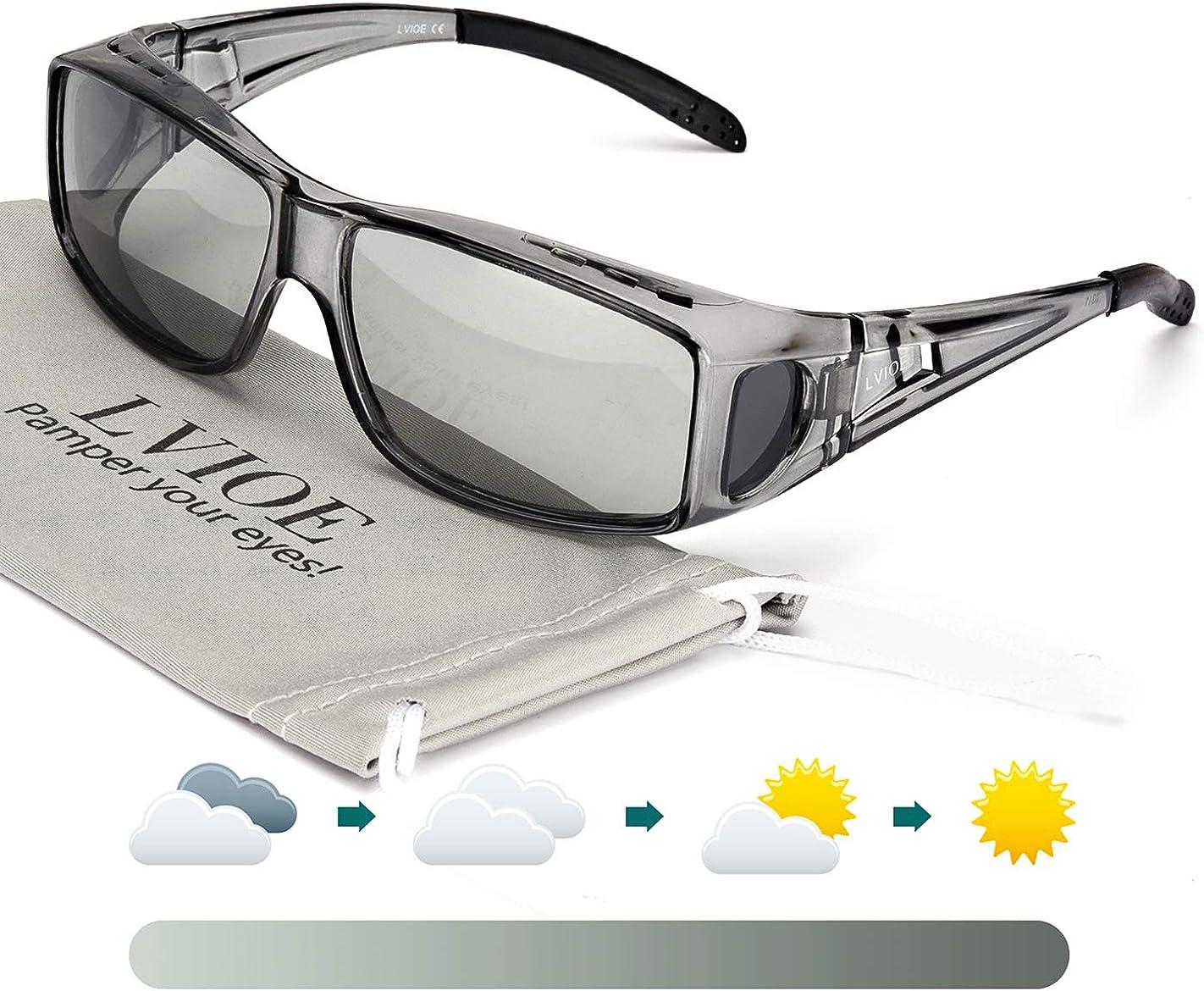 LVIOE Gafas de Sol Fotocromáticas Sobre Gafas, gafas de sol de Fitover de la prescripción Estilos unisex, Protección 100% UVA UVB Para Colocar Sobre las Gafas Normales y de Lectura