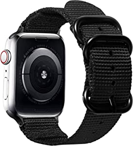 Watpro Compatible with Apple Watch Band 38mm 40mm 42mm 44mm Women Men Nylon Rugged Replacement iWatch Band Military-Style Buckle Grey Adapters for Sport Series 5 4 3 2 1 (1-Black, 42MM/44MM)