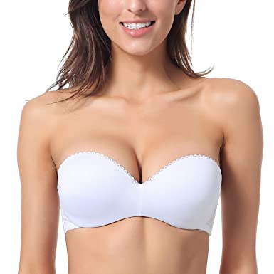 c2148dd6d11 Dobreva Women s Convertible Multiway Underwire Padded Strapless Push Up Bra  White ...