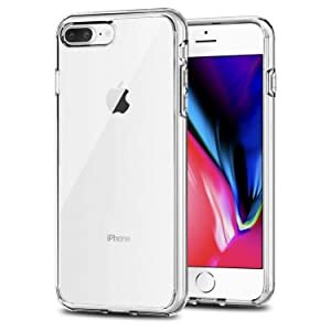 TENOC Phone Case Compatible for Apple iPhone 8 Plus and iPhone 7 Plus 5.5 Inch, Crystal Clear Ultra Slim Cases Soft TPU Cover Full Protective Bumper