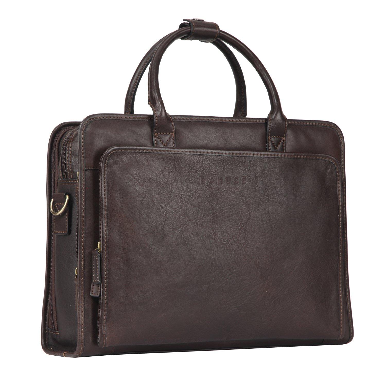 Banuce Italian Leather Business Briefcase Top-zip Multiple Gussets Messenger Bag