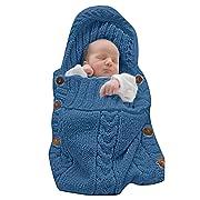 LANSHULAN Newborn Baby Blanket Toddler Sleeping Bag Sleep Sack Stroller Wrap (Blue)