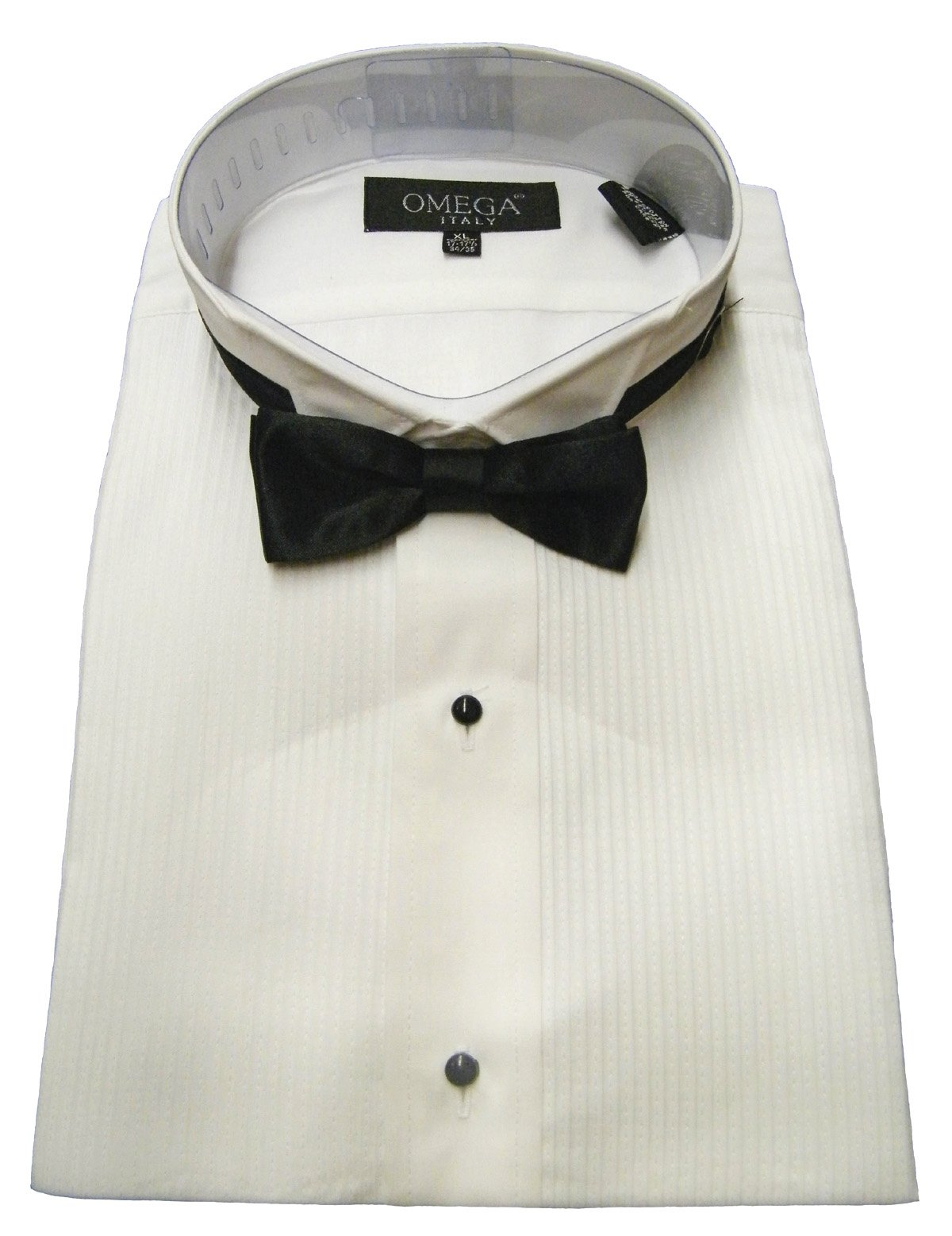 OmegaTux Mens Wing Collar Tuxedo Shirt with Bowtie, 1/8'' Pleat & Convertible Cuffs
