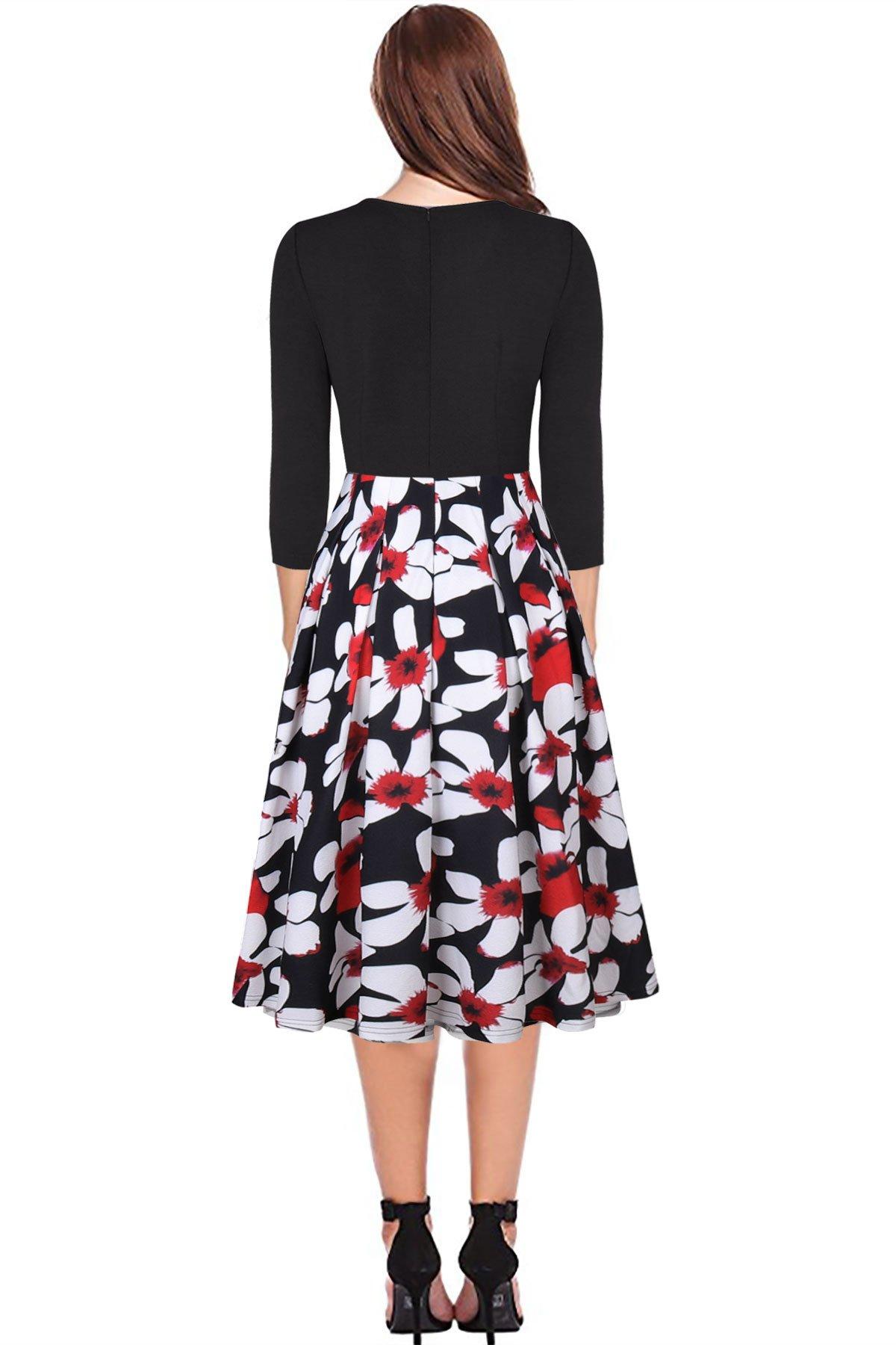 Black Church Dresses for Women Midi Pocket 3/4 Sleeve Fit and Flare Winter  Dress Plus Size XXL