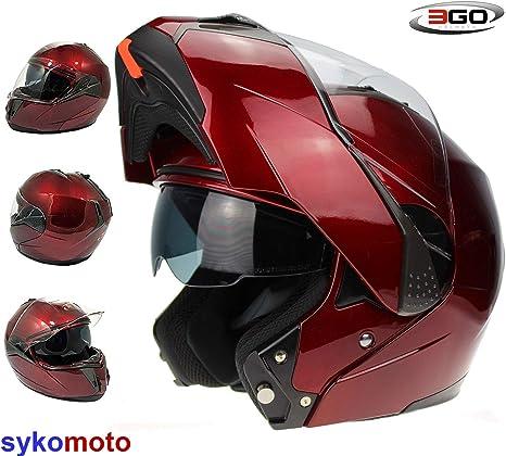 55-56 CM S 3GO-E335 CASCO INTEGRALE MOTO SCOOTER ECE OMOLOGATO MOTORINO CASCHI DONNA UOMO CON DOPPIA VISIERA PARASOLE BORGOGNA