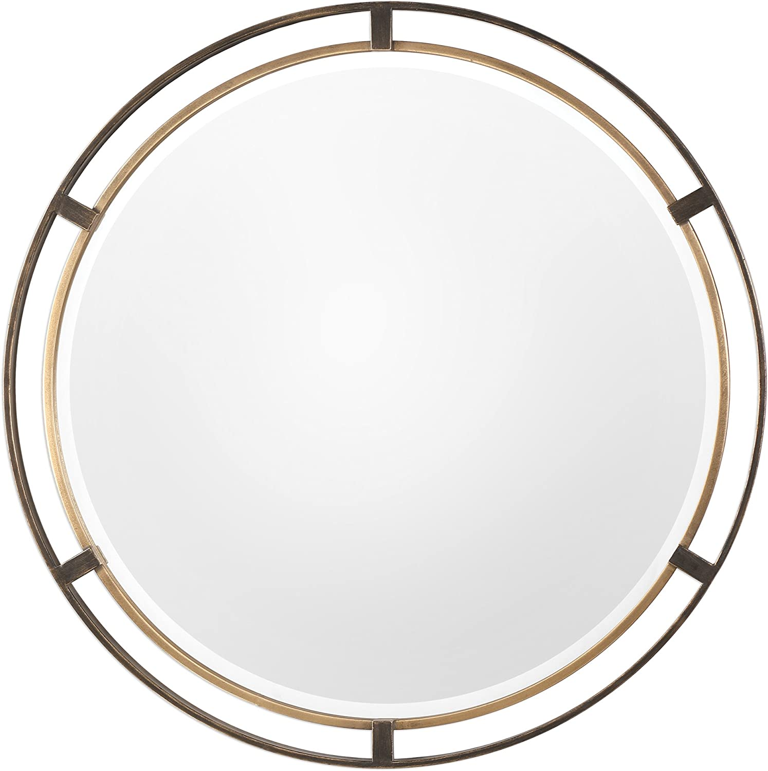 Amazon Com My Swanky Home Mid Century Modern Gold Bronze Round Mirror 36 Thin Frame Minimalist Metal Home Kitchen