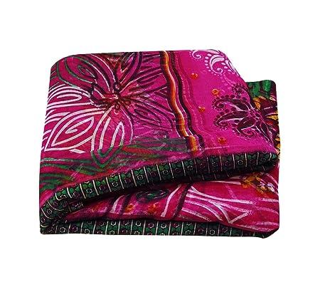 fb53008cb9 Indian Vintage Magenta Casual Wear Floral Printed Saree Bollywood Sarong  Dress Fabric Silk Blend Sari 5YD