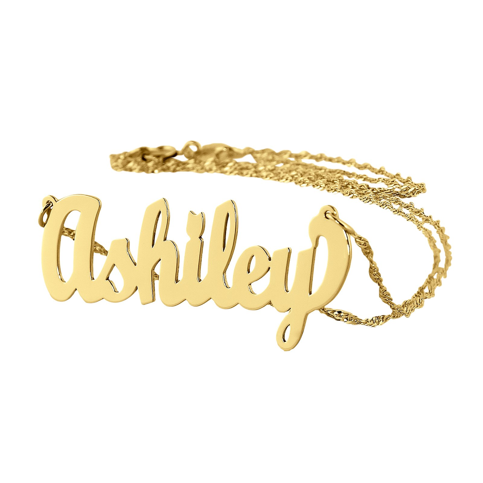 Dainty Name Necklace 10k Gold Personalized Pendant Chain 1.25 Inch Charm (20)