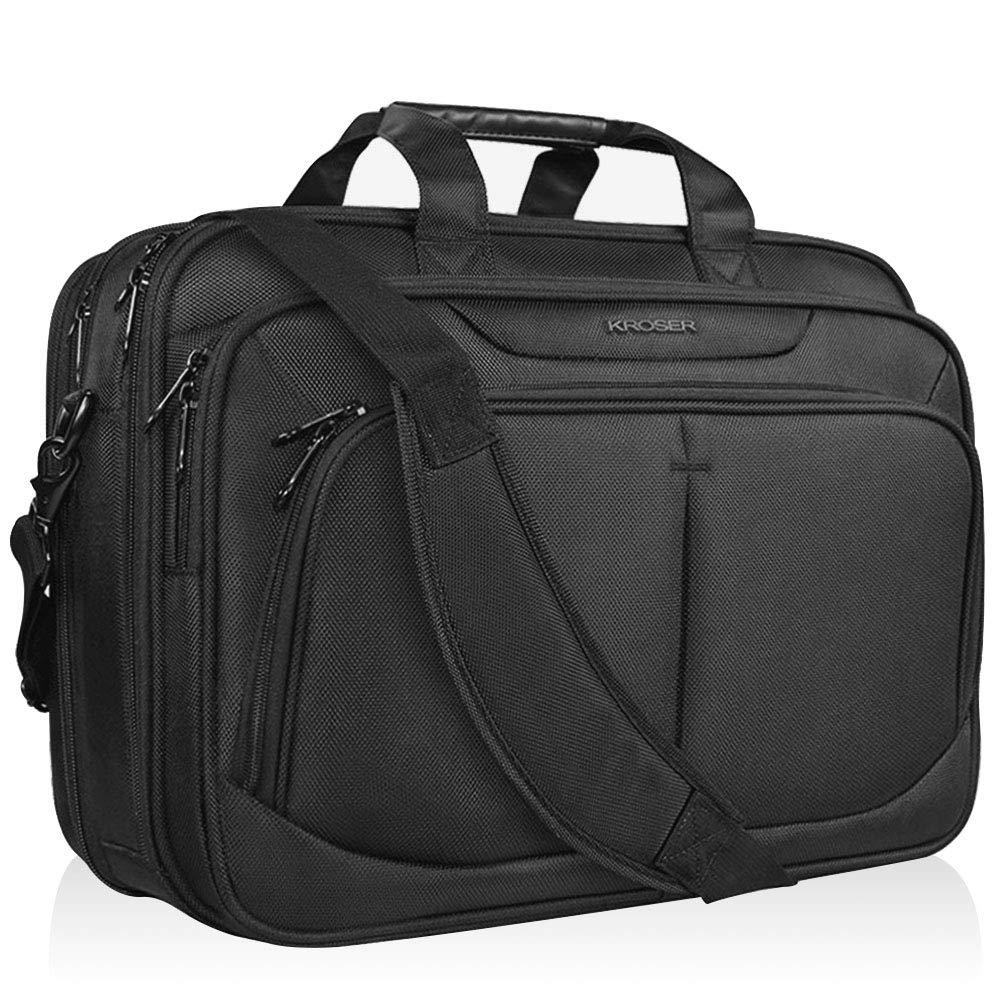 KROSER 17.1'' Laptop Bag Fits Up To 17 Inch Laptop Briefcase Water-Repellent Expandable Computer Bag Business Messenger Bag Shoulder Bag School/Travel/Women/Men