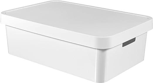 CURVER Caja Infinity 30L con Tapa, Blanco, 54.5x37x16 cm, 233758