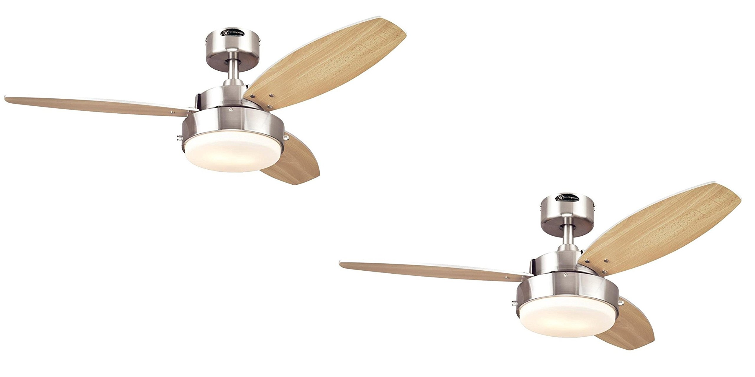 Westinghouse Alloy Two-Light Reversible Three-Blade Indoor Ceiling Fan, 42-Inch, Brushed Nickel Finish with Opal Frosted Glass 2 Pack (42'' Brushed Nickel 2 Pack)