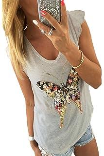 YUPOLB Mujer Verano Chaleco Tops Fashion Mariposa Lentejuelas Camisetas Sexy Cuello V Manga Camisas del Casquillo