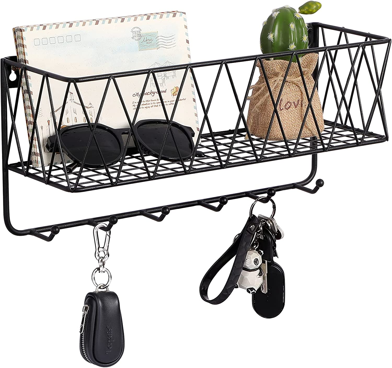 Key and Mail Holder for Wall Mounted Organizer Keys Hanging Rack JA