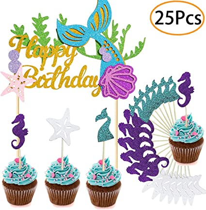 Amazon.com: Mermaid Party Supplies - Decoración para tarta ...