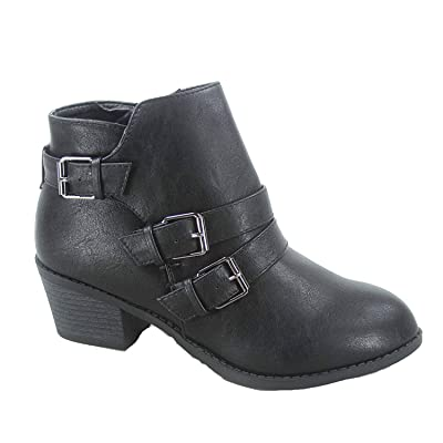 Forever Link Eury-4 Women's Fashion Round Toe Buckles Zipper Low Heel Ankle Booties Shoes Black | Ankle & Bootie