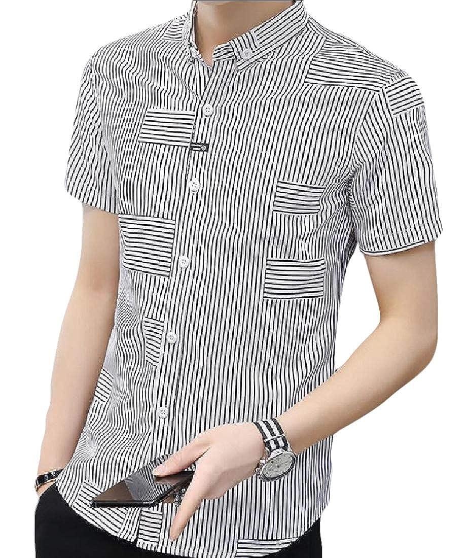 ouxiuli Mens Summer Button Down Short Sleeve Tops Blouses Vertical Striped Shirt