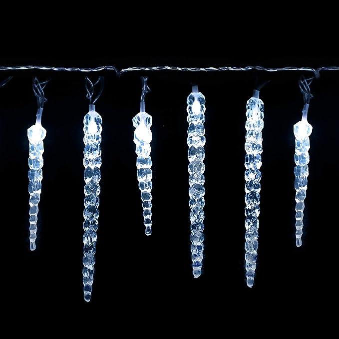 NetzBetriebene 10m Lead Wire Eiszapfen Lichterkette Au/ßen 220 LED 7,5m//24ft Lit L/änge Warmwei/ß Baum Lichter Weihnachten Lichterketten Aussen Memory /& Timer Funktionen Gr/ün Kabel