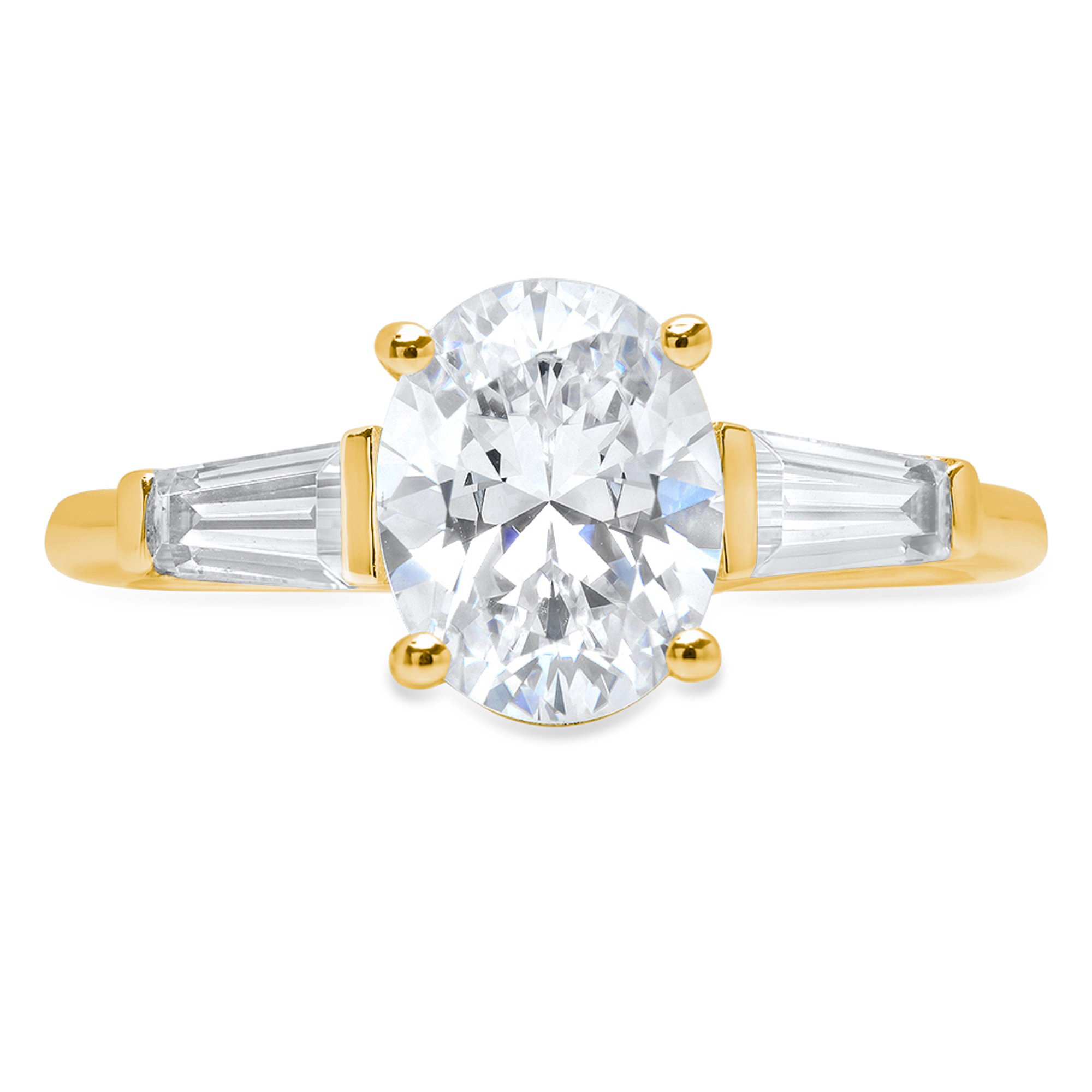 1.8ct Oval Baguette Brilliant Cut 3-Stone Statement Classic Designer Solitaire Anniversary Engagement Wedding Bridal Promise Ring Solid 14k Yellow Gold For Women, 5.75, Clara Pucci