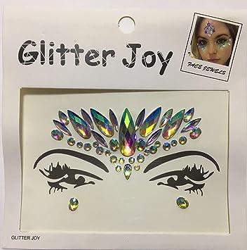 Amazon.com : Festival Wedding Hen Glitter Joy Face Gems Temporary ...