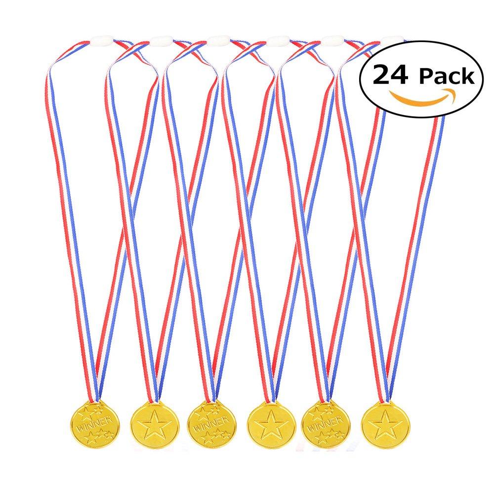 InnoBase 24 Piezas medallas de Oro ganadoras de plástico Winner Medals Juegos de Juguete Decoración DIY Regalos para Fiesta, Recompensa, Niños Fiesta Deportiva, Competencia