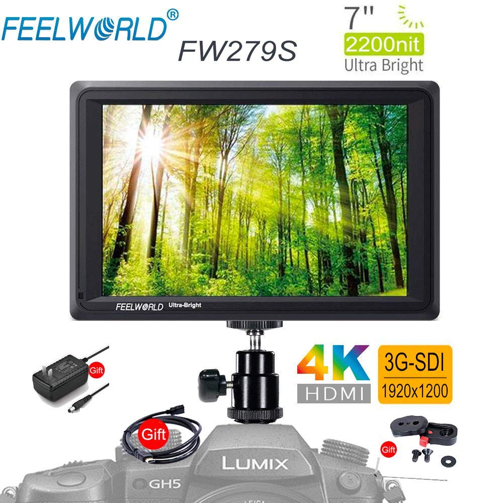 FEELWORLD FW279S 7'' 2200nit Ultra Bright Daylight Viewable SDI Field Monitor IPS Support 4K HDMI and SDI in and Loop-Out Full HD 1920x1200 On-Camera Monitor with DC Out Power for DSLR by FEELWORLD