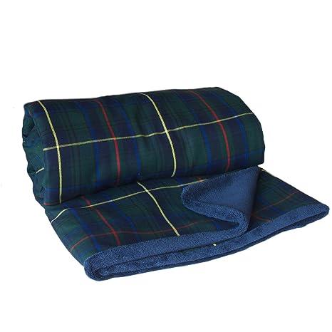 Manta Escocesa - manta verde - manta cuadros - manta cama ...