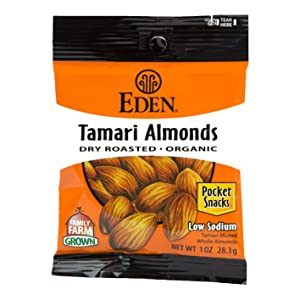Eden Tamari Almonds, Dry Roasted, Organic Pocket Snacks, 1 Ounce (Pack of 12)