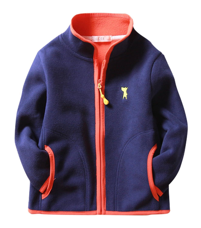 Boys Polar Fleece Jacket Long Sleeve Stand Colar Hand Pockets Outwear 2-8T ZETA DIKES