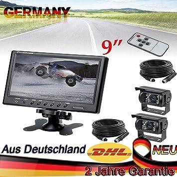 """7/"""" Auto Monitor Rückansicht Set Bus LKW 12V 24V 18 LED IR Rückfahrkamera 4Pin"""