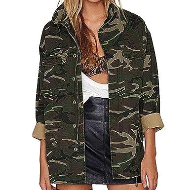 Frauen Vintage Camouflage Mantel Herbst Winter Street Jacke