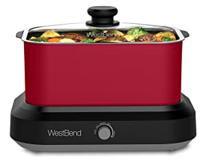 West Bend 87906R 5 Different Temperature Control Settings Dishwasher Safe Includes A Travel Lid & Thermal Carrying Case, 6 quart, Red