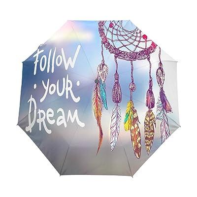 ALAZA Follow Your Dream Dreamcatcher Quote 3 Folds Auto Open Close Anti-UV Umbrella