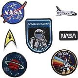 Conjunto de 7parches bordados para planchar o coser con diseño de astronauta, NASA, agencia espacial, nave espacial, motivo bordado para pegar por transferencia
