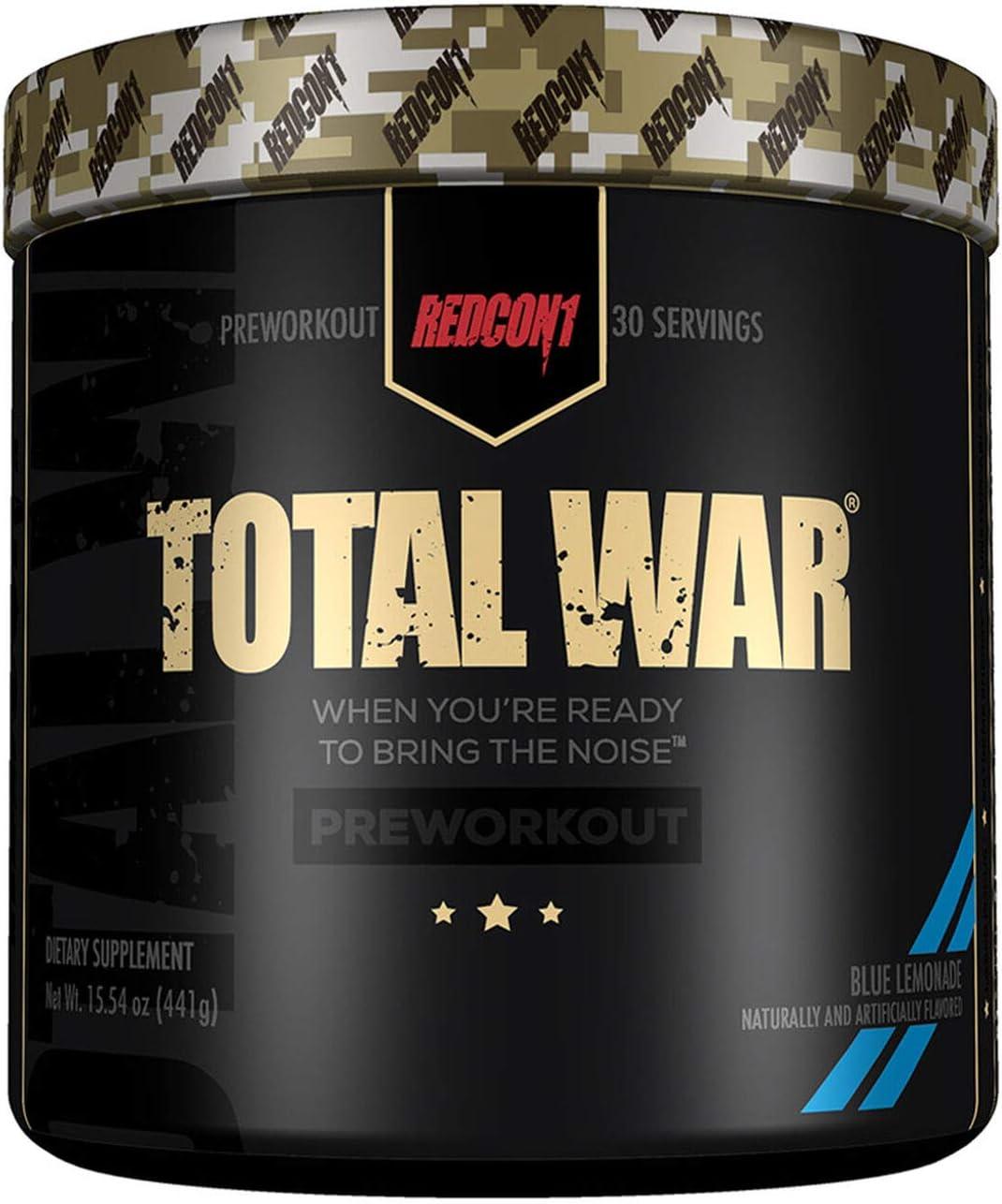 Redcon1 Total War - Pre Workout, 30 Servings, Boost Energy, Increase Endurance and Focus, Beta-Alanine, Caffeine (Blue Lemonade)