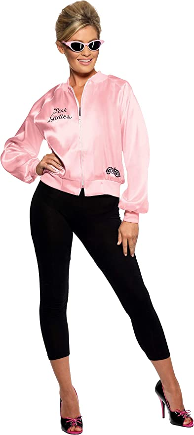 1950s Costumes- Poodle Skirts, Grease, Monroe, Pin Up, I Love Lucy Smiffys Womens Grease Pink Ladies Jacket Size:M Colour: Pink 28385M £12.86 AT vintagedancer.com