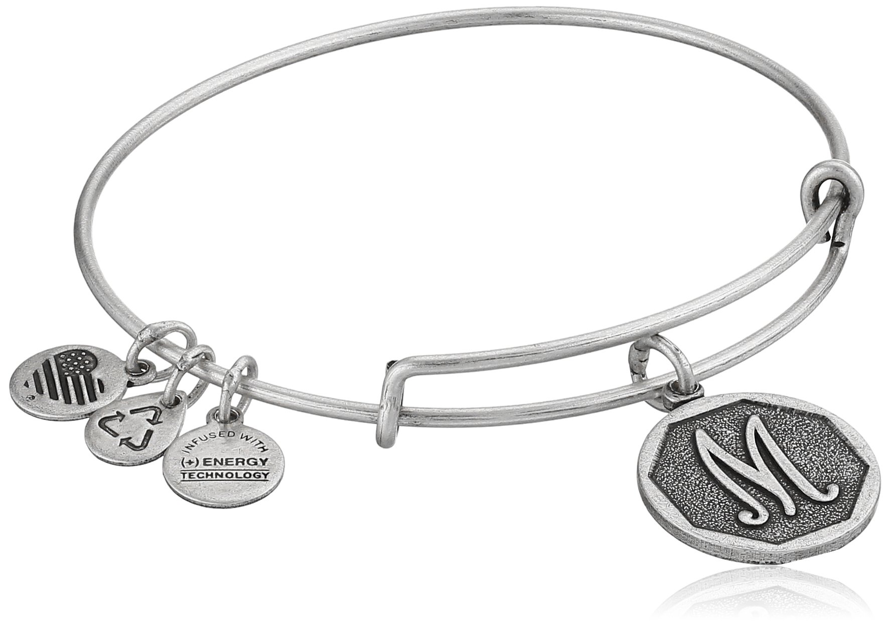 Alex and Ani Rafaelian Silver-Tone Initial M Expandable Wire Bangle Bracelet, 2.5''