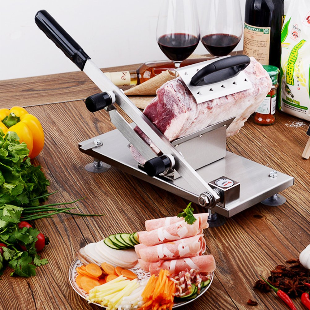 Manual Frozen Meat Slicer Stainless Steel Cutter Machine for Home Kitchen Use Commercial Beef Mutton Roll Cutting Slicers for Hot Pot Lover (Metal Silver) by XinChangShangMao (Image #2)