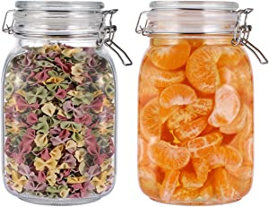 UPKOCH 2PCS Airtight Storage Jars Leak Proof Glass Jars with Lid Food Storage Containers Sealed Canisters for Kitchen -1.5L