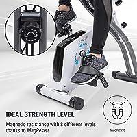 Klarfit X-Spline Bicicleta estática • Correas Flexibles • Transmisión por Correa • SilentBelt System • 2 Opciones de Asiento Diferentes • Plegable • 8 Niveles • Soporte Tableta • Pulsómetro