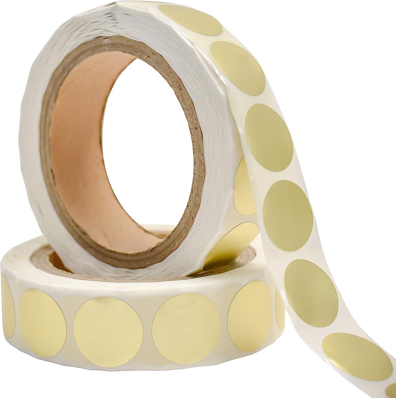 Roll of 100 Peel /& Stick Labels 1 Inch Circle Shiny Gold Metallic Foil Seals